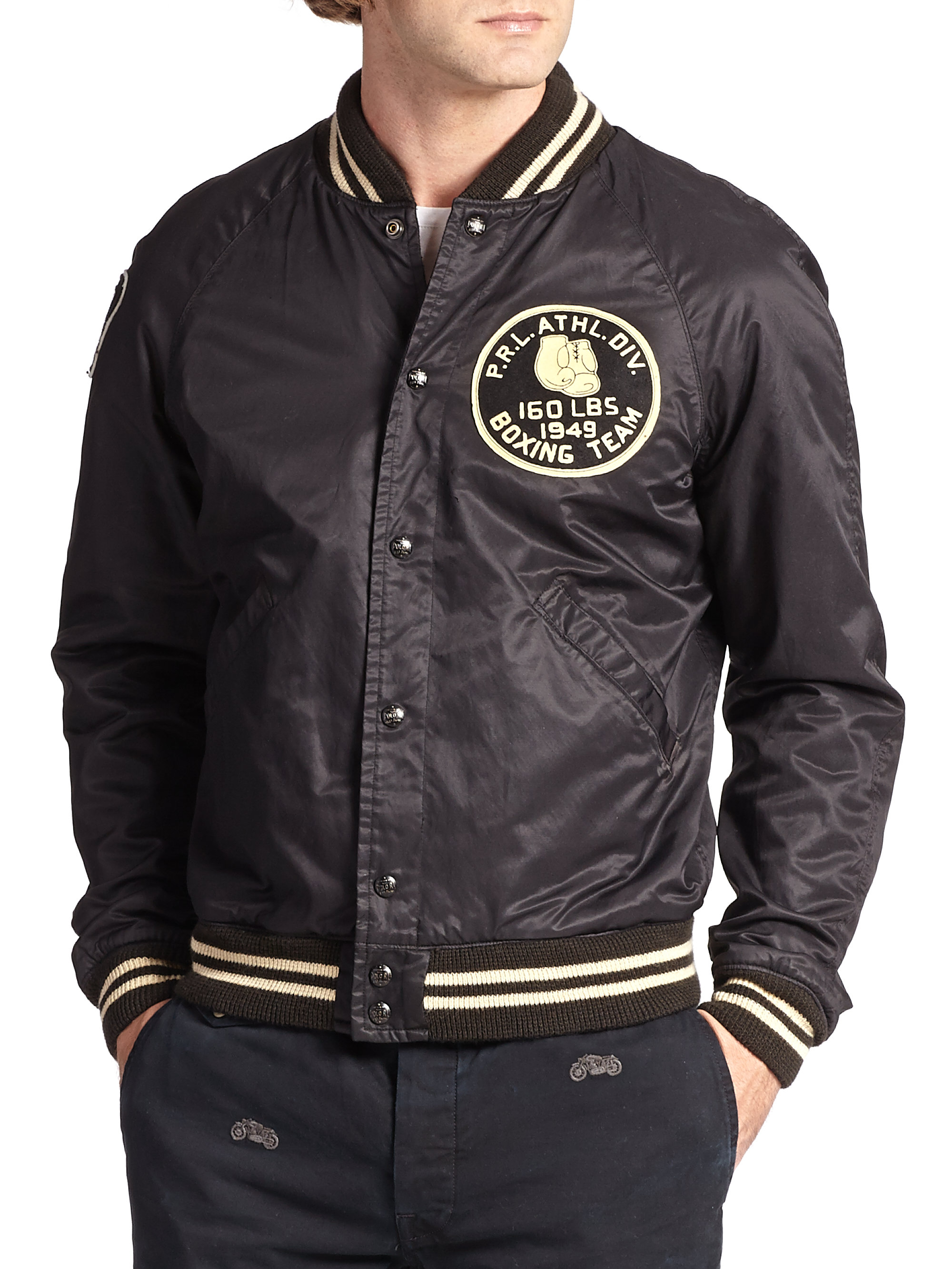 lyst polo ralph lauren reversible varsity jacket in black. Black Bedroom Furniture Sets. Home Design Ideas