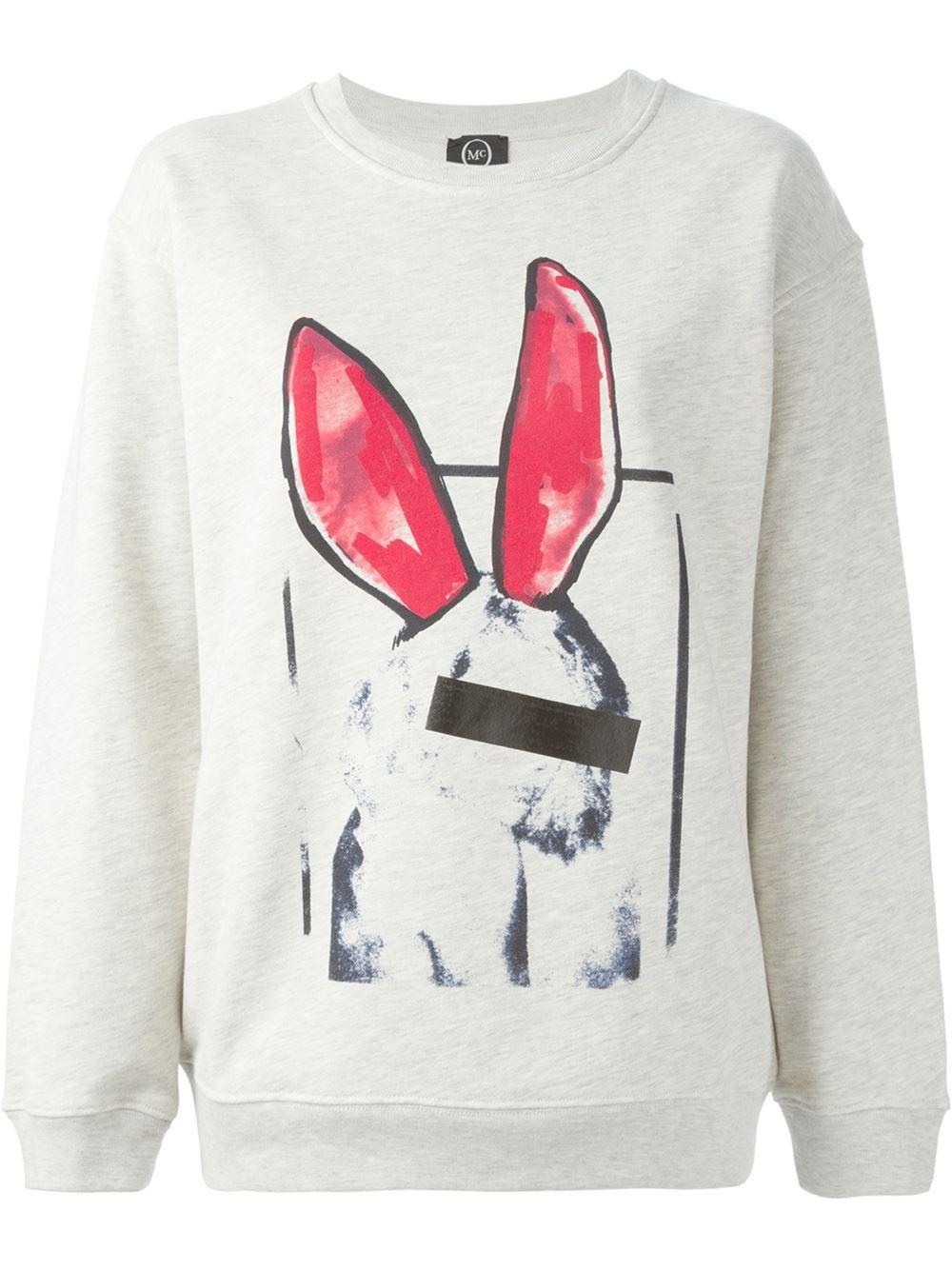 mcq bunny print cotton sweatshirt in gray lyst