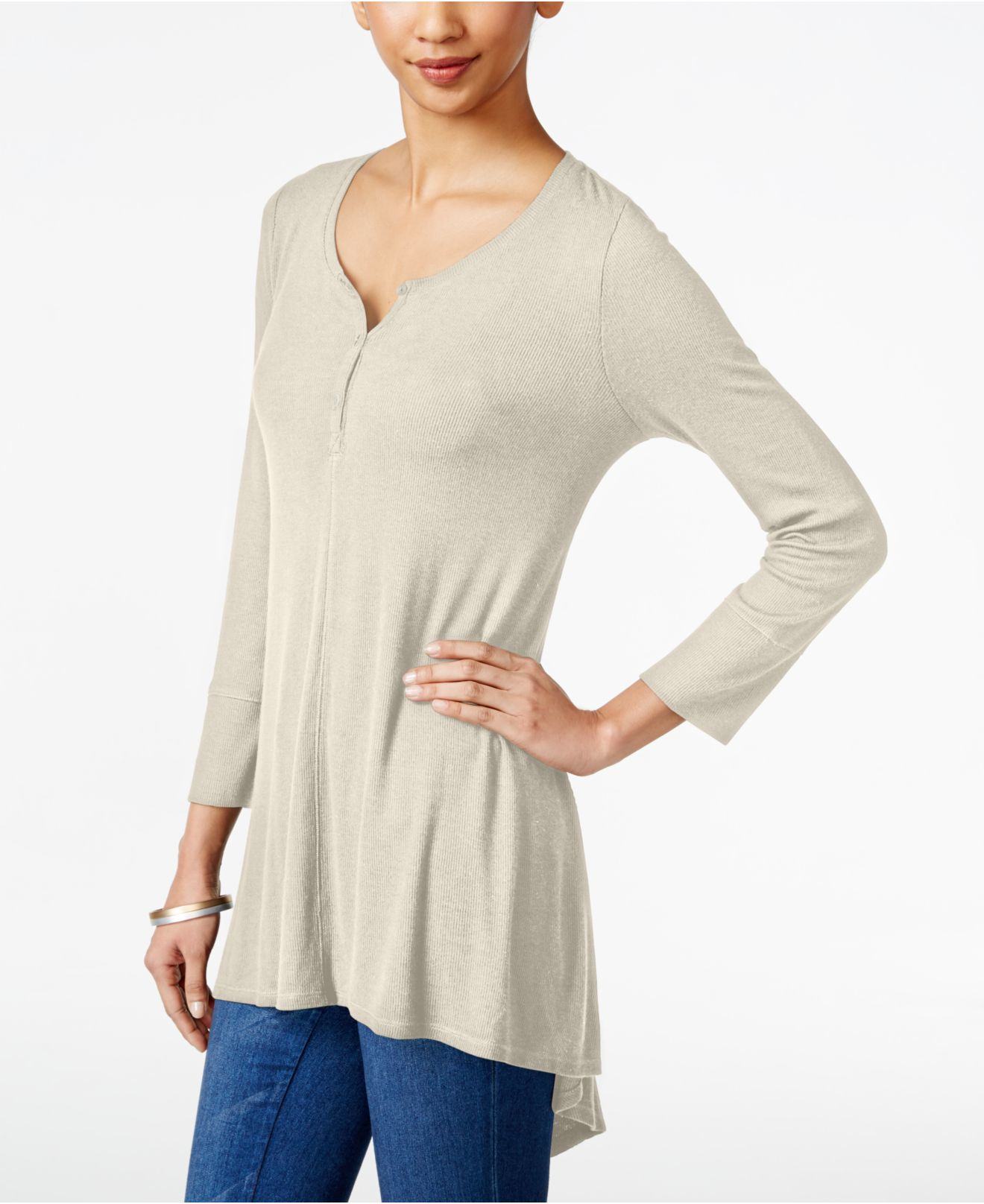 style co ribbed high low top only at macy s in gray lyst