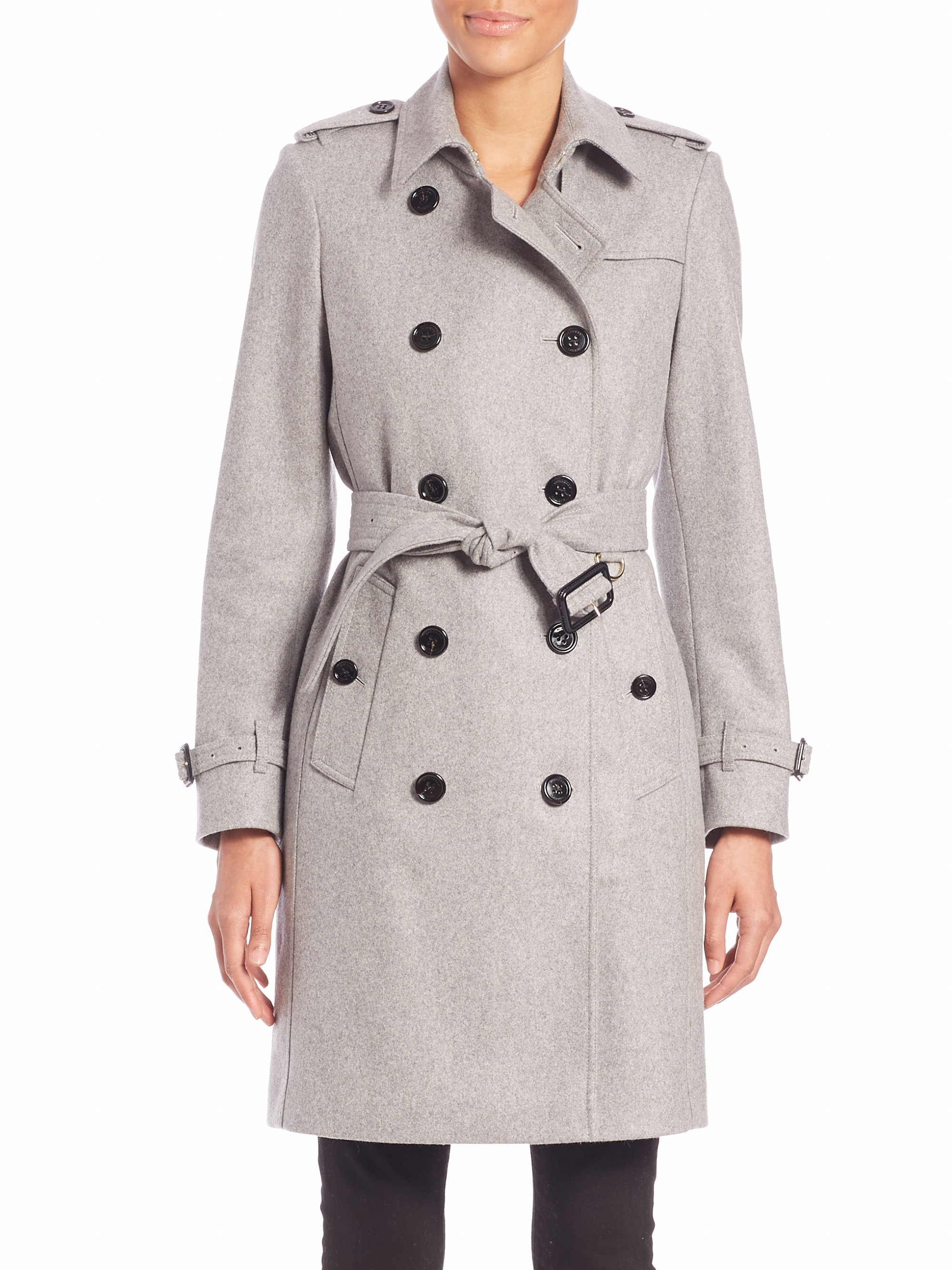 Burberry Kensington Pale Grey Cashmere Trench Coat in Gray | Lyst