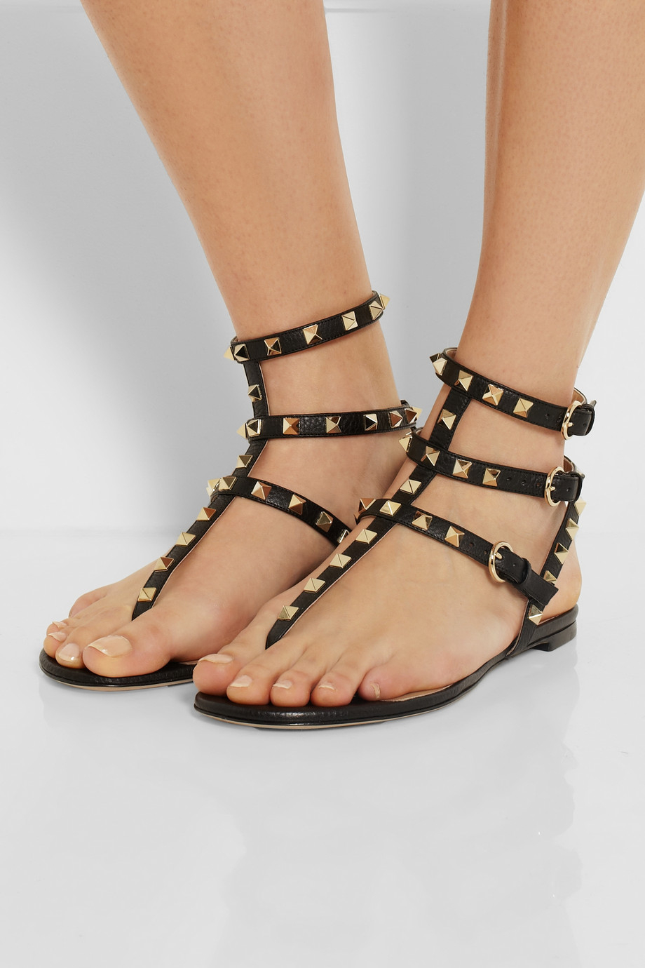 valentino studded flat sandals online