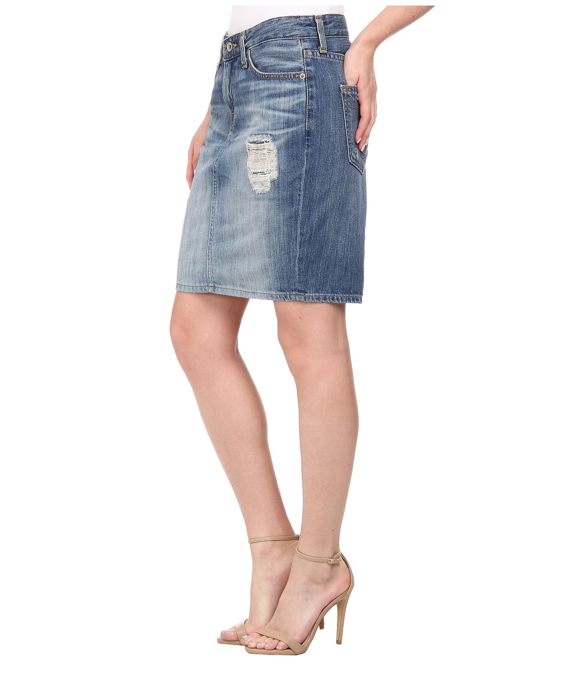 big kara pencil skirt in blue lennox lyst