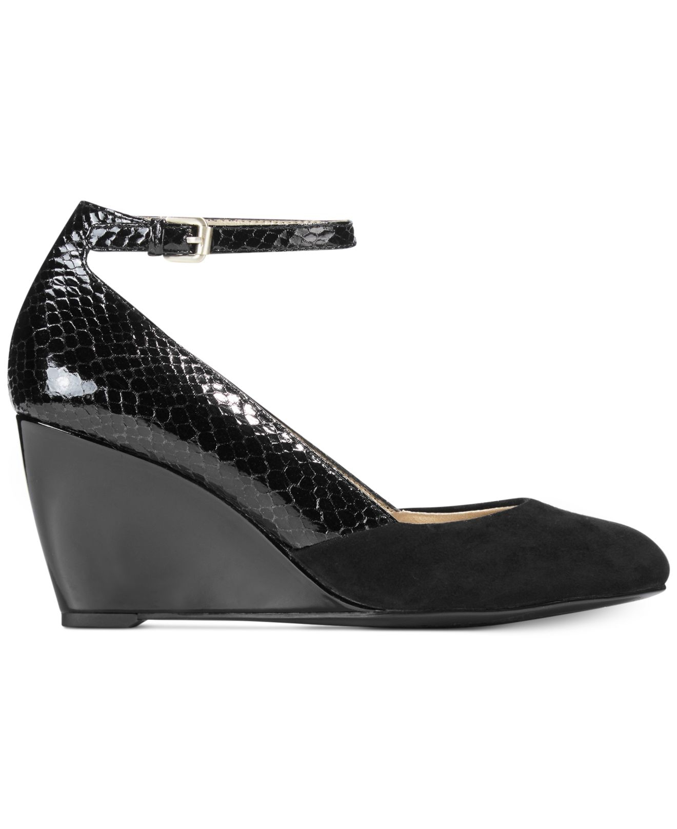 97dcf478993 Lyst - Bandolino Topical Ankle Strap Wedge Pumps in Black