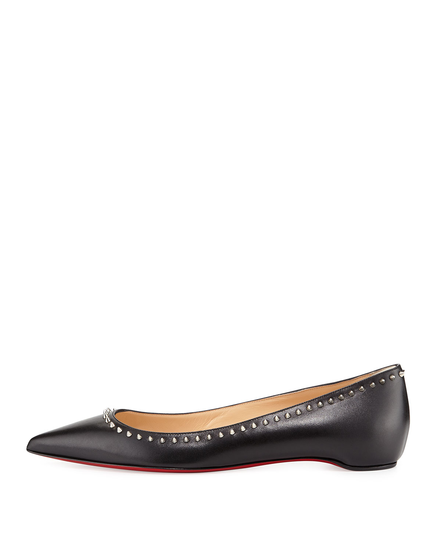 b89616a3d65 Christian Louboutin Black Anjalina Studded Leather Ballet Flats