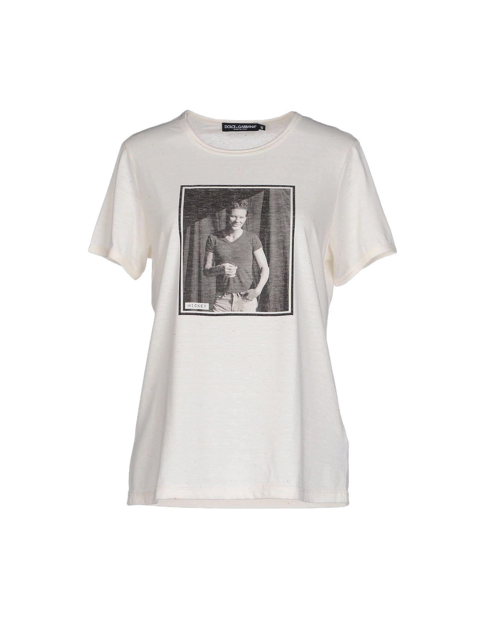 Dolce gabbana t shirt in white lyst for Dolce gabbana t shirt women