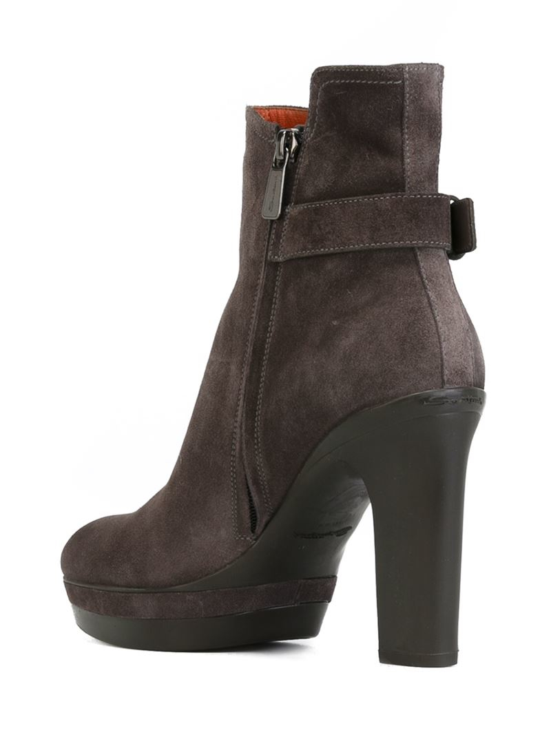 santoni chunky heel ankle boots in gray lyst. Black Bedroom Furniture Sets. Home Design Ideas