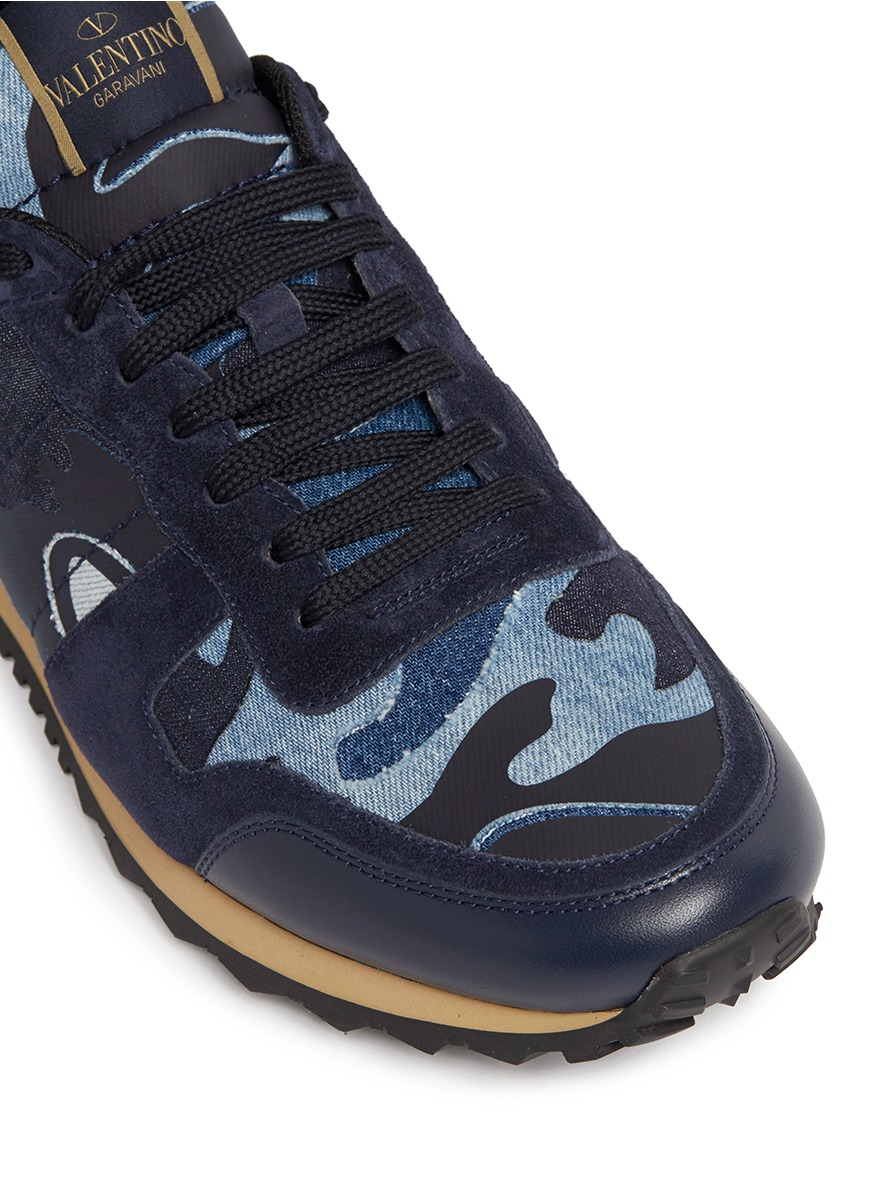 Lyst - Valentino Camouflage Patchwork Denim Sneakers for Men