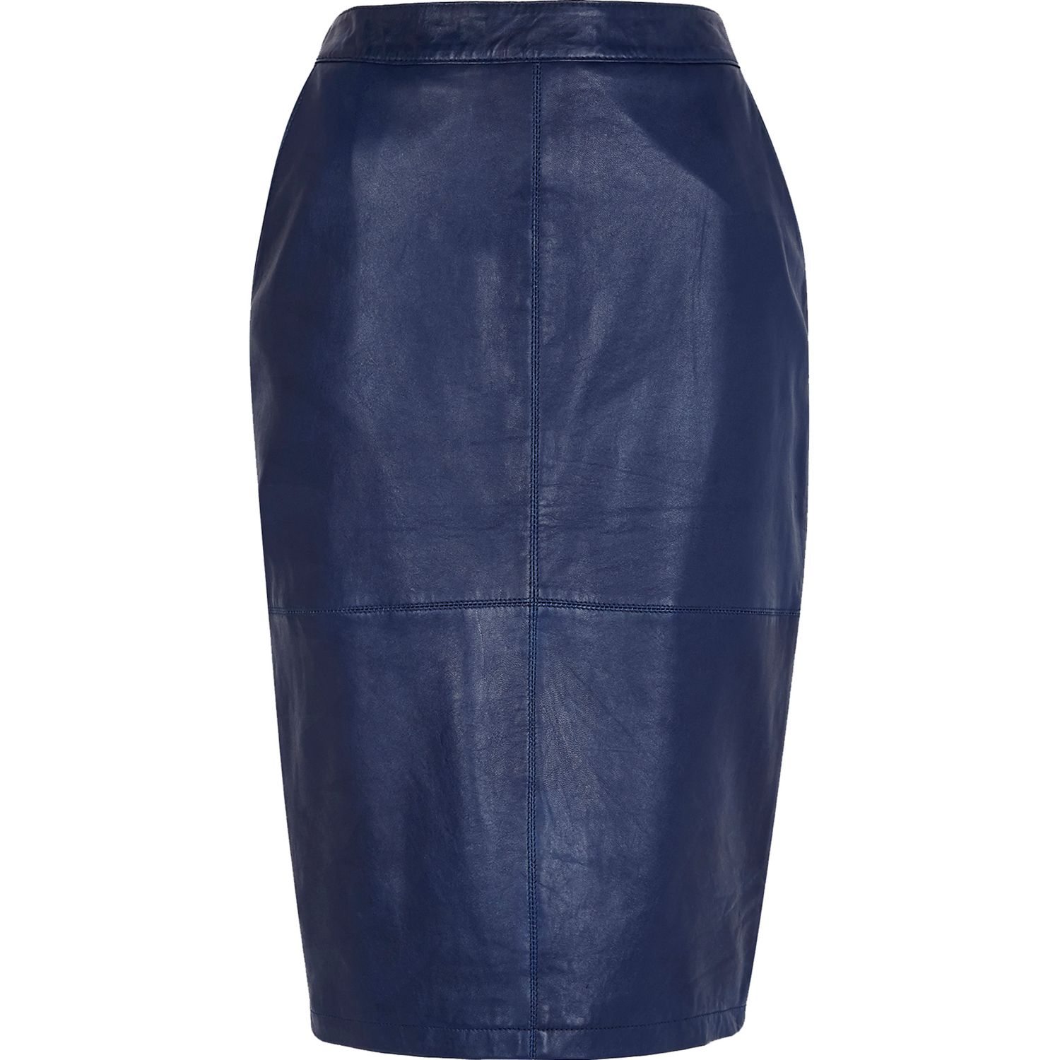 River island Navy Leather Pencil Skirt in Blue | Lyst