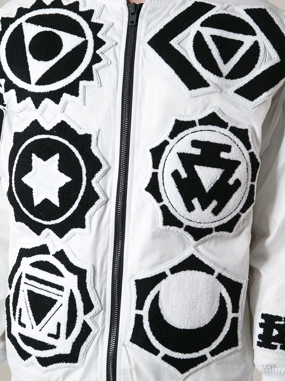 KTZ Patchwork Bomber Jacket in White for Men