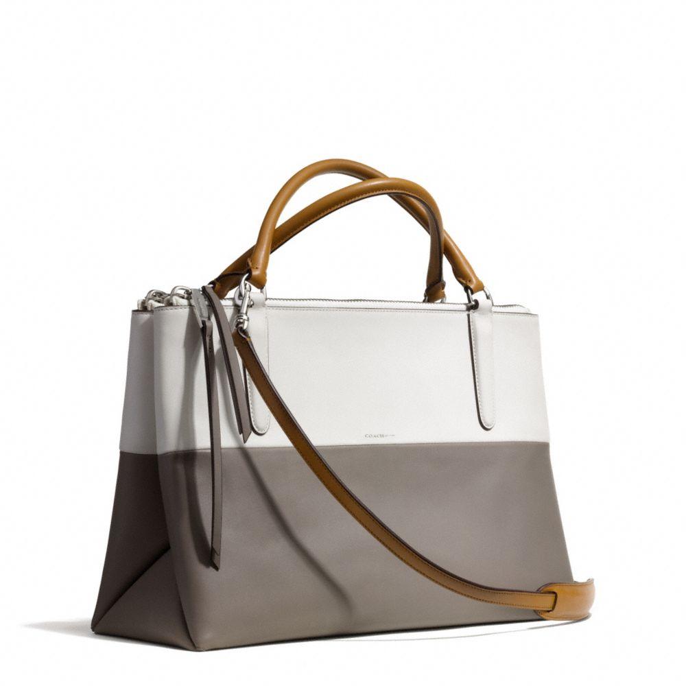 coach borough bag in retro colorblock leather in gray