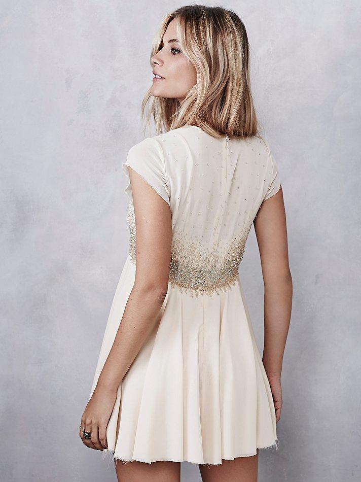 1853b4a8 Free People Glitter Rock Babydoll Dress in Natural - Lyst