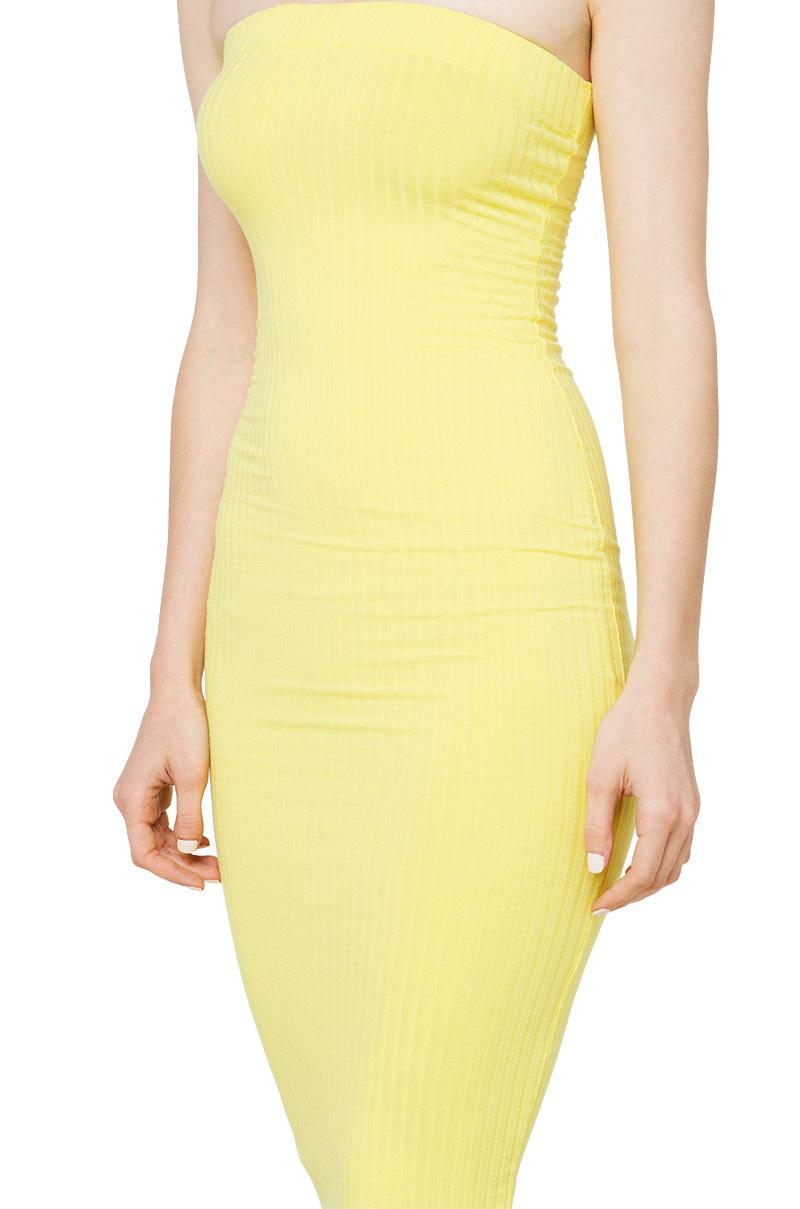 Ribbed Bodycon Midi Dress in Yellow