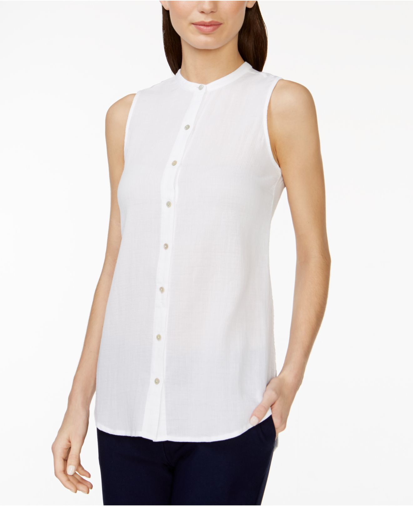 617018b1ee0736 Eileen Fisher Band-collar Sleeveless Shirt in White - Lyst