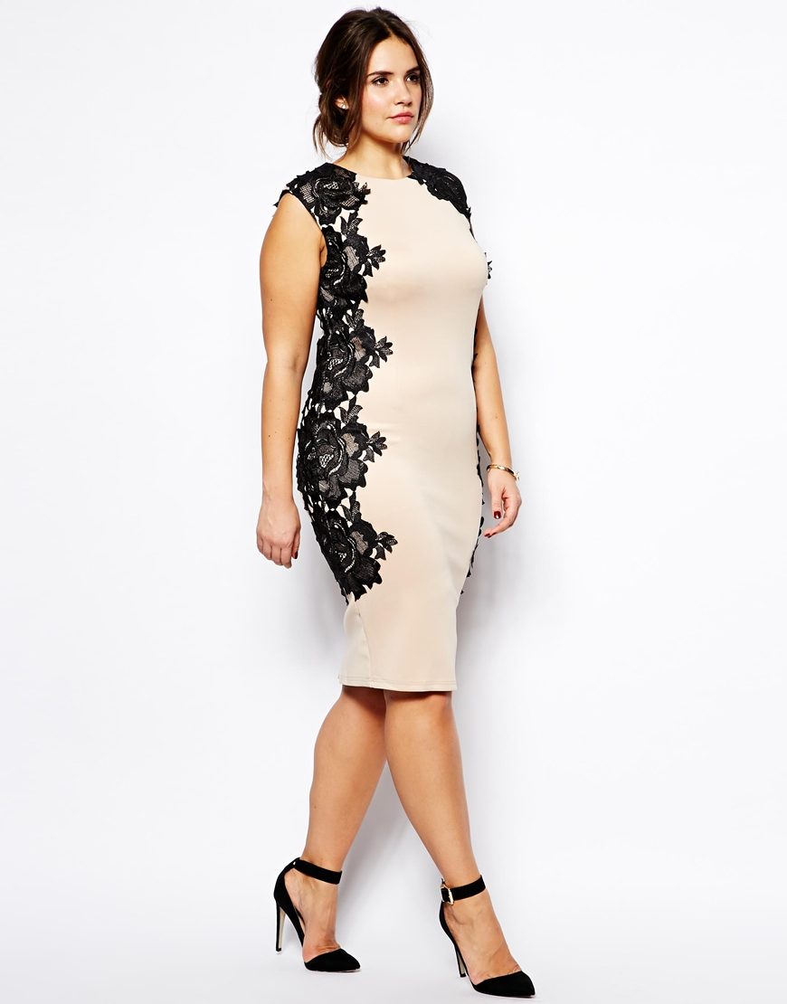 Lyst - Ax Paris Plus Size Bodycon Dress With Lace Panels in Natural