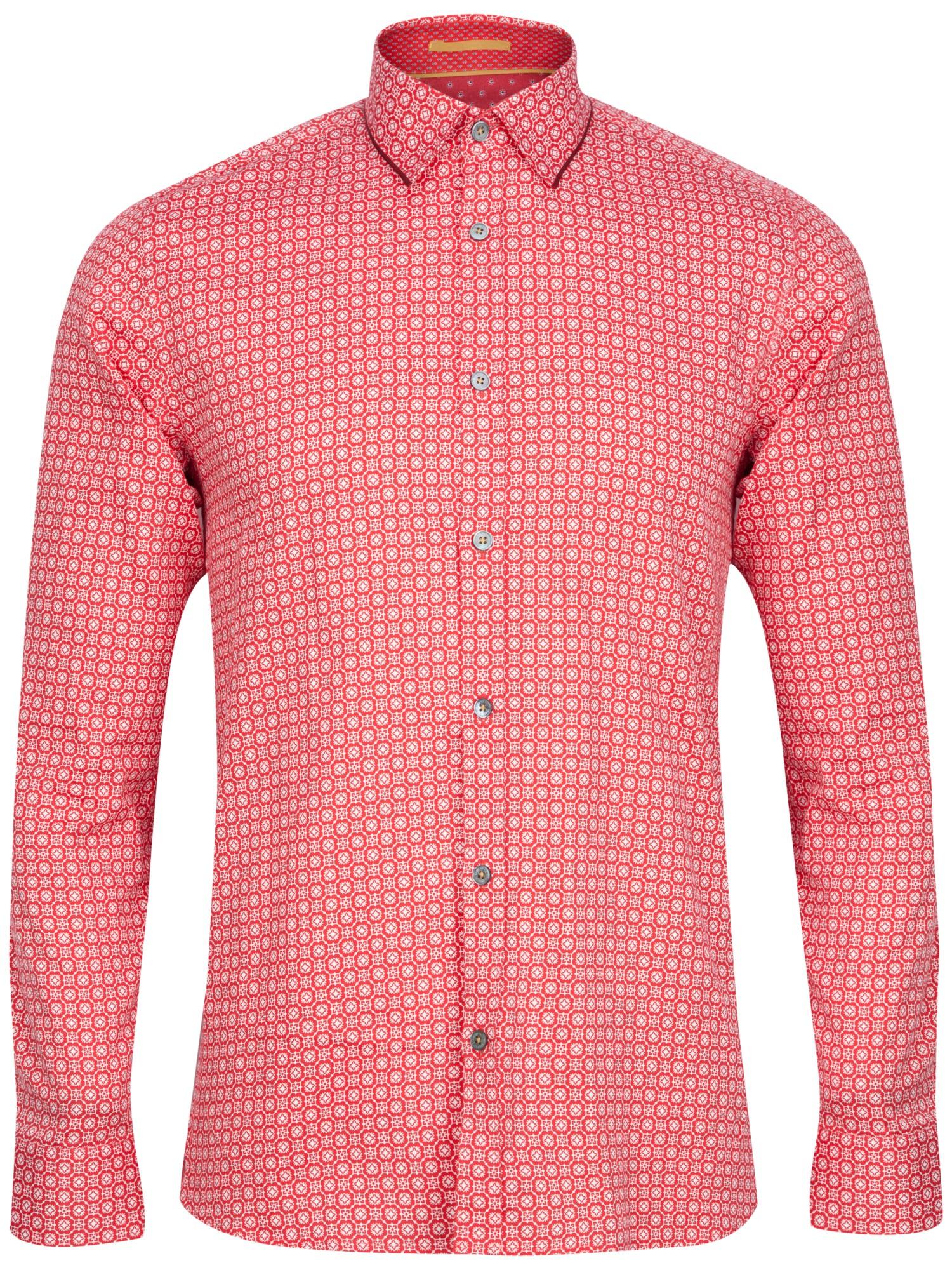 da7cee8f72231e Ted Baker Rumple Print Long Sleeve Shirt in Red for Men - Lyst