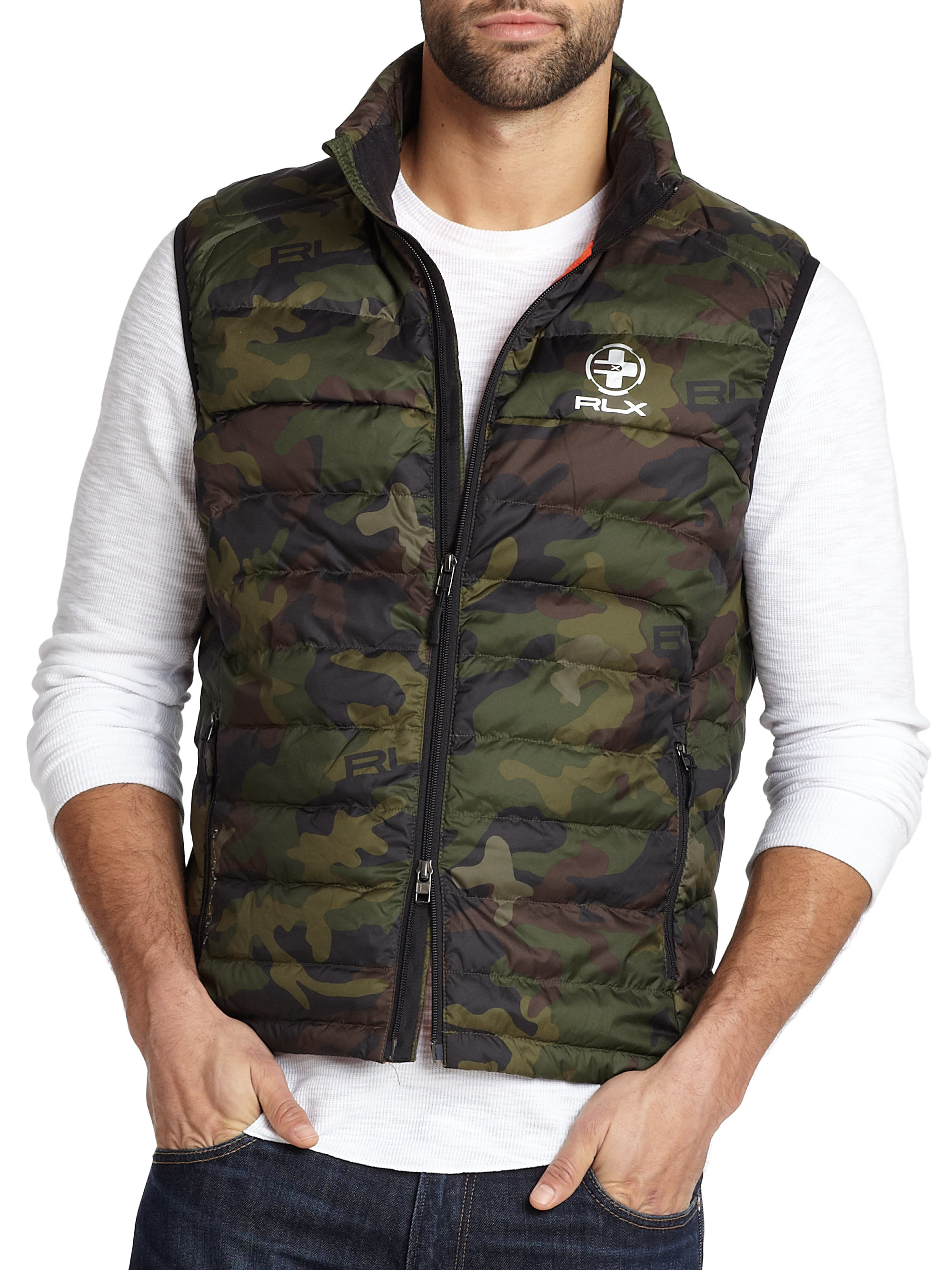 Polo Ralph Lauren Camouflage Explore Down Vest In Brown