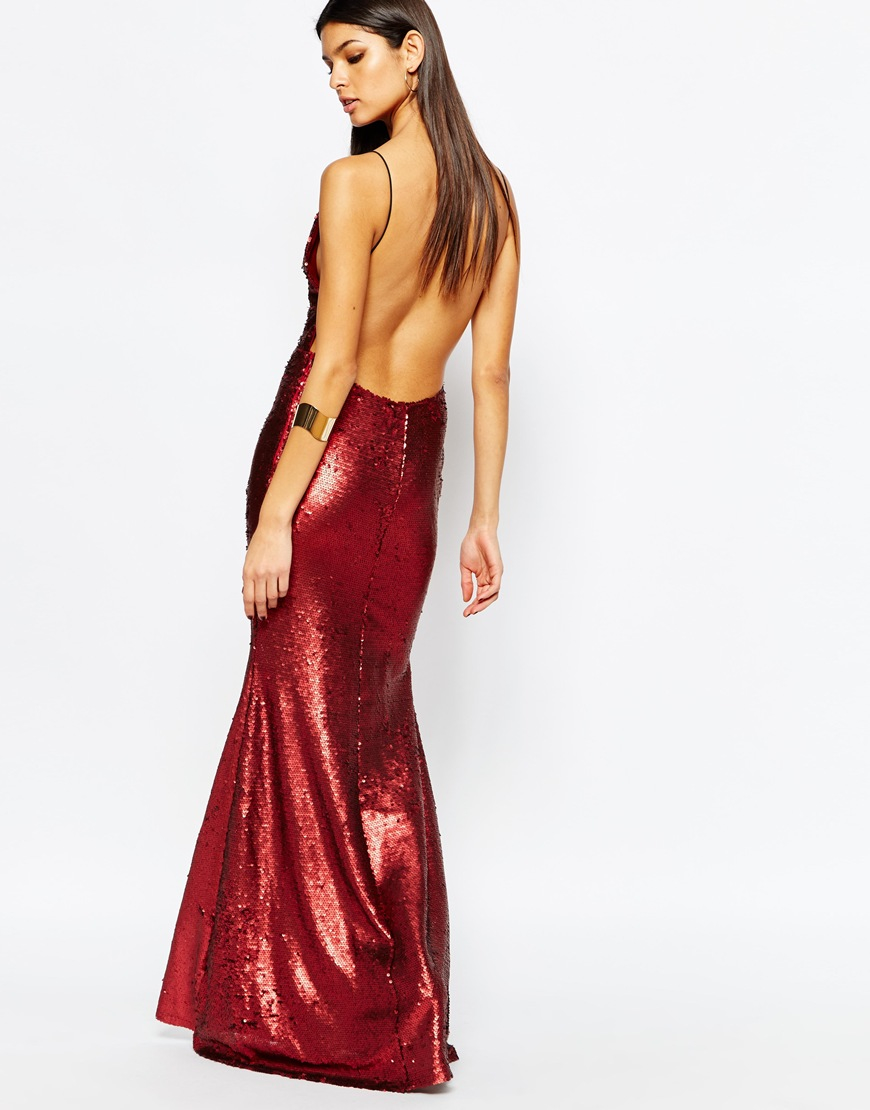 f34ac6b5f28 Club L Showstopper Open Back Sequin Maxi Dress With Fishtail in Red - Lyst