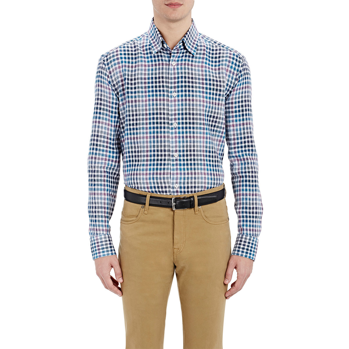 Brioni Checked Linen Shirt in Blue for Men