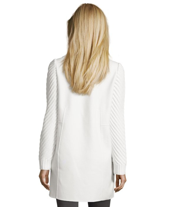 Vince Winter White Wool Sweater Sleeve Double Breasted Coat in ...