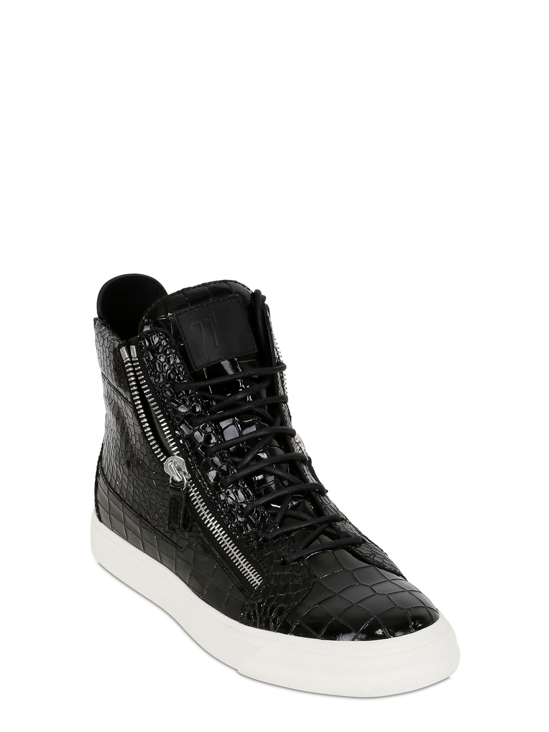 050fa662bcee0 Giuseppe Zanotti Embossed Patent Leather High Top Sneaker in Black ...