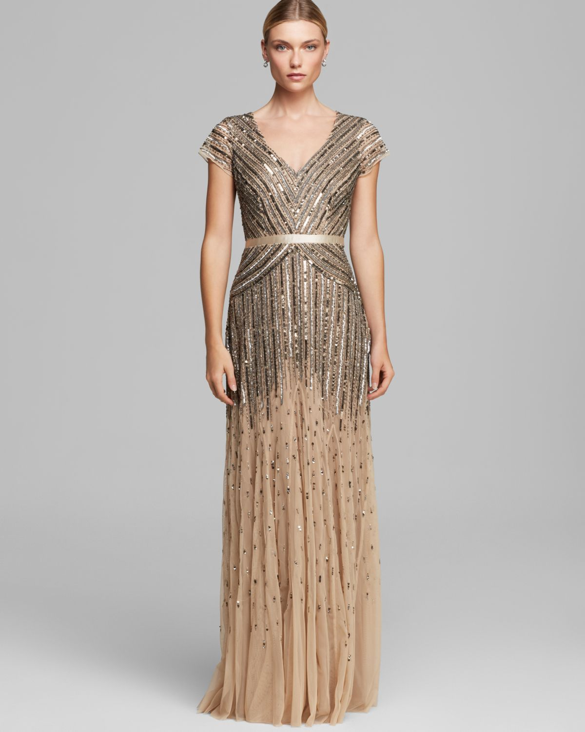Adrianna Papell | Beaded V-Neck Gown | Dresses, Gowns, Fashion