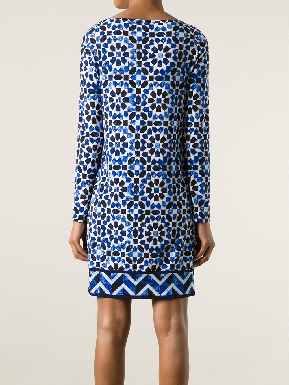 MICHAEL Michael Kors Geometric Print Shift Dress in Blue