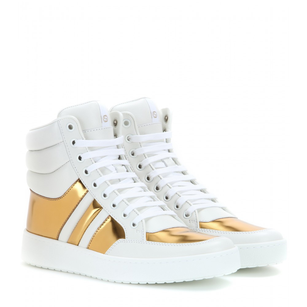 597a0e6ce0b2 Lyst - Gucci Leather High-Top Sneakers in White