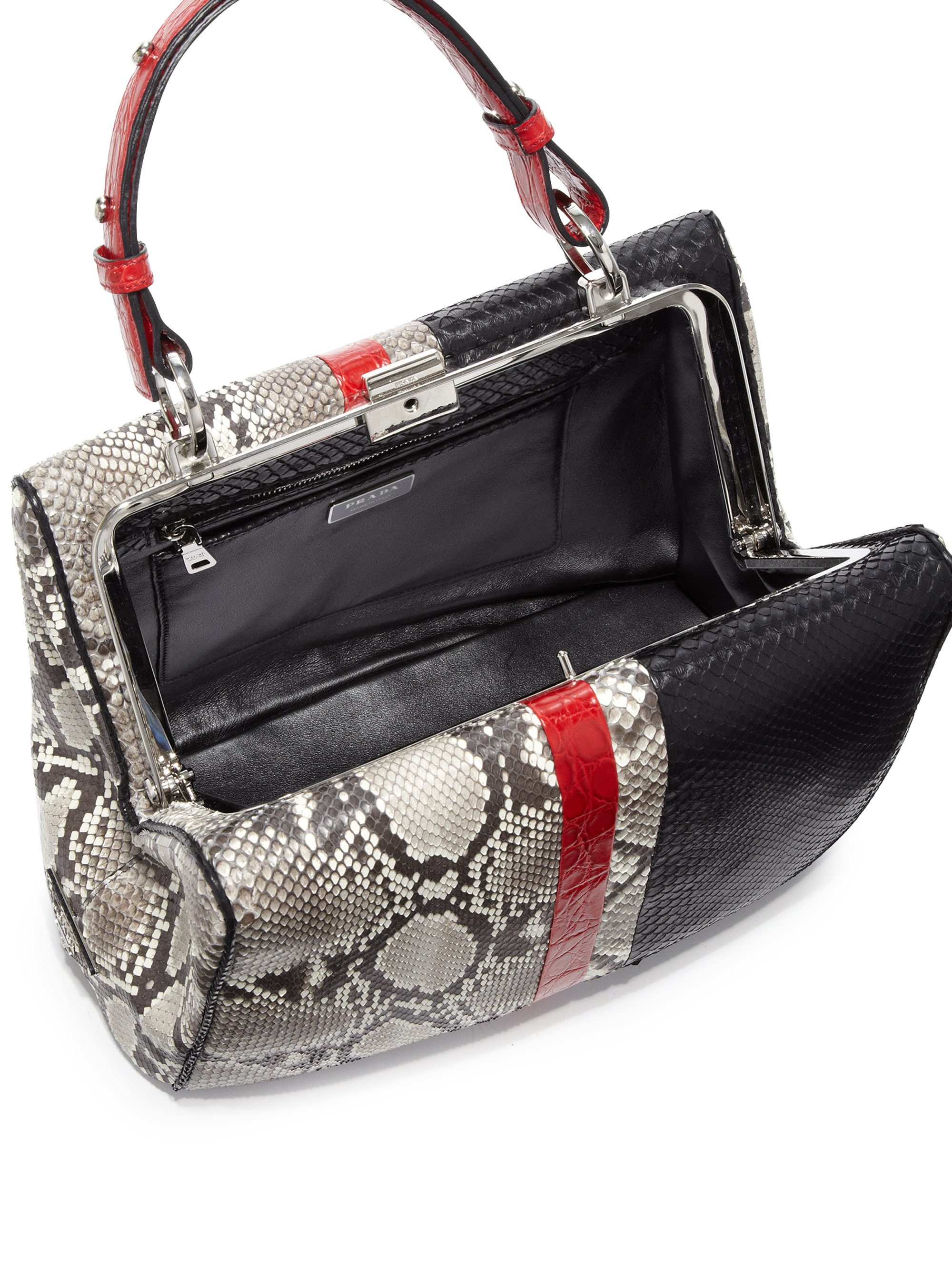 935e519810 ... 50% off lyst prada python crocodile baiadera frame bag in black 047bc  aec49