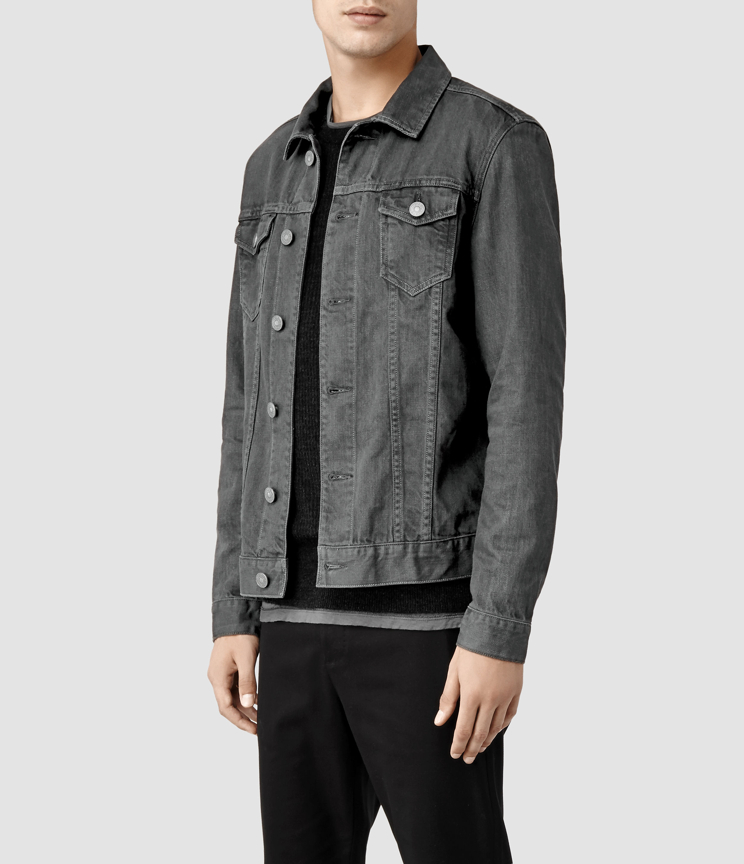 Allsaints Setsu Denim Jacket in Gray for Men | Lyst
