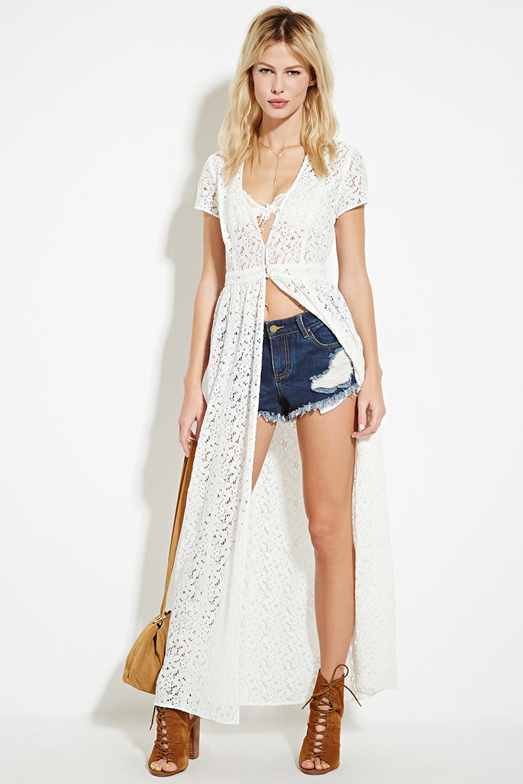 Forever 21 Floral Lace Duster in White | Lyst - photo #28