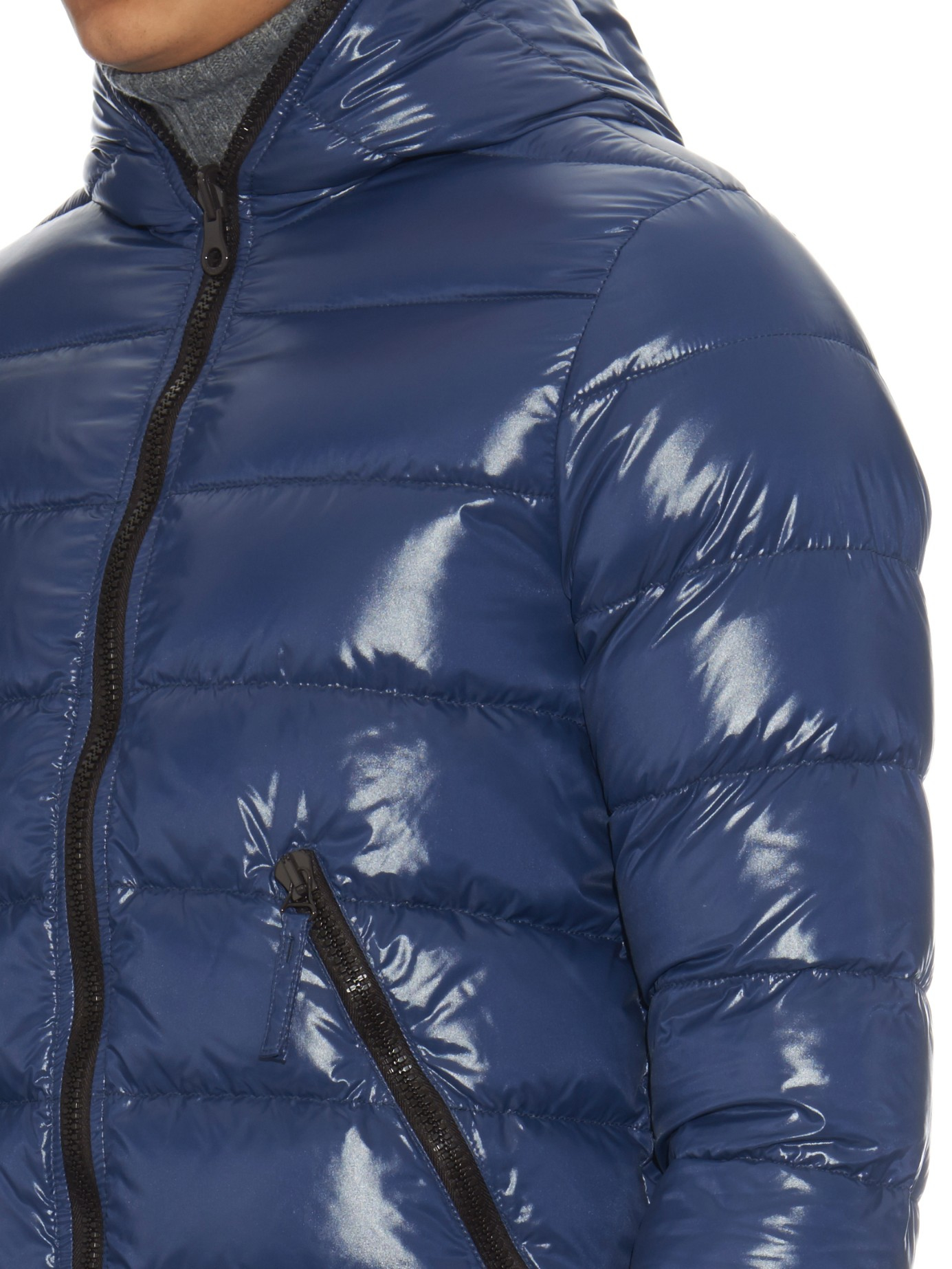 Duvetica Dionisio Down Reversible Hooded Jacket In Blue