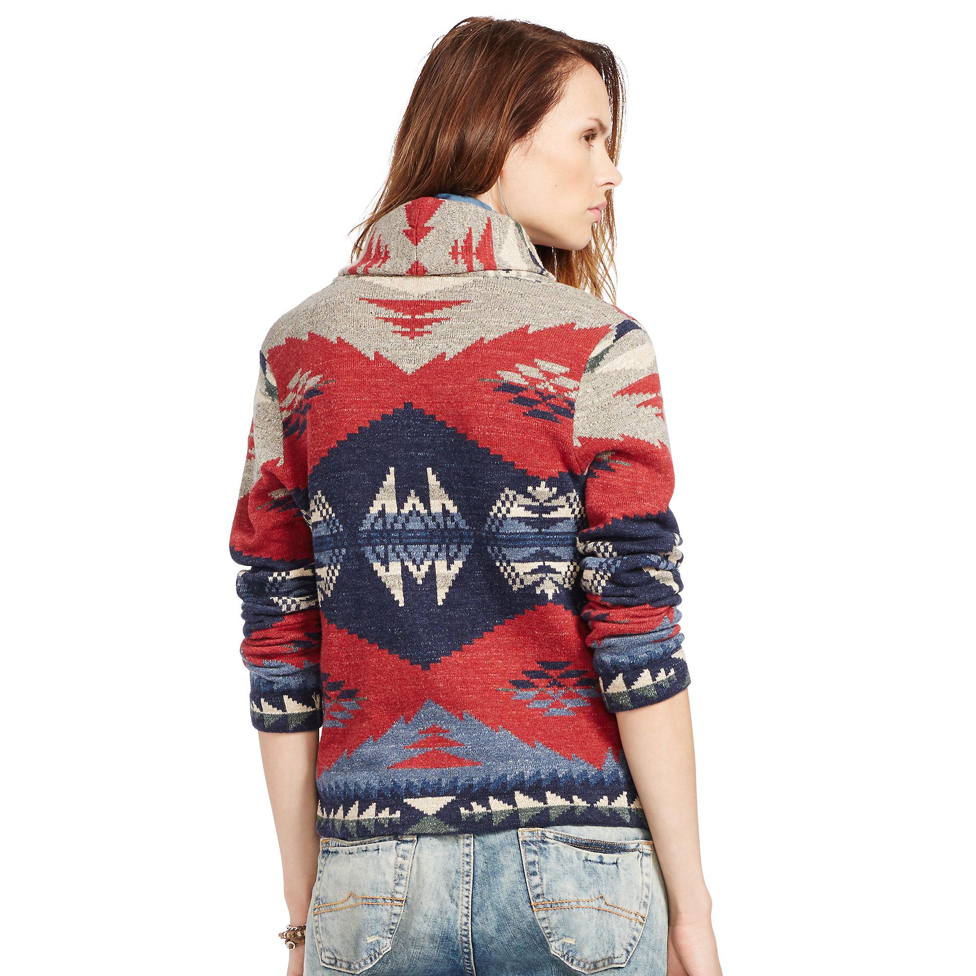 Denim  Supply Ralph Lauren Shawl Cardigan Sweater In Blue -2944