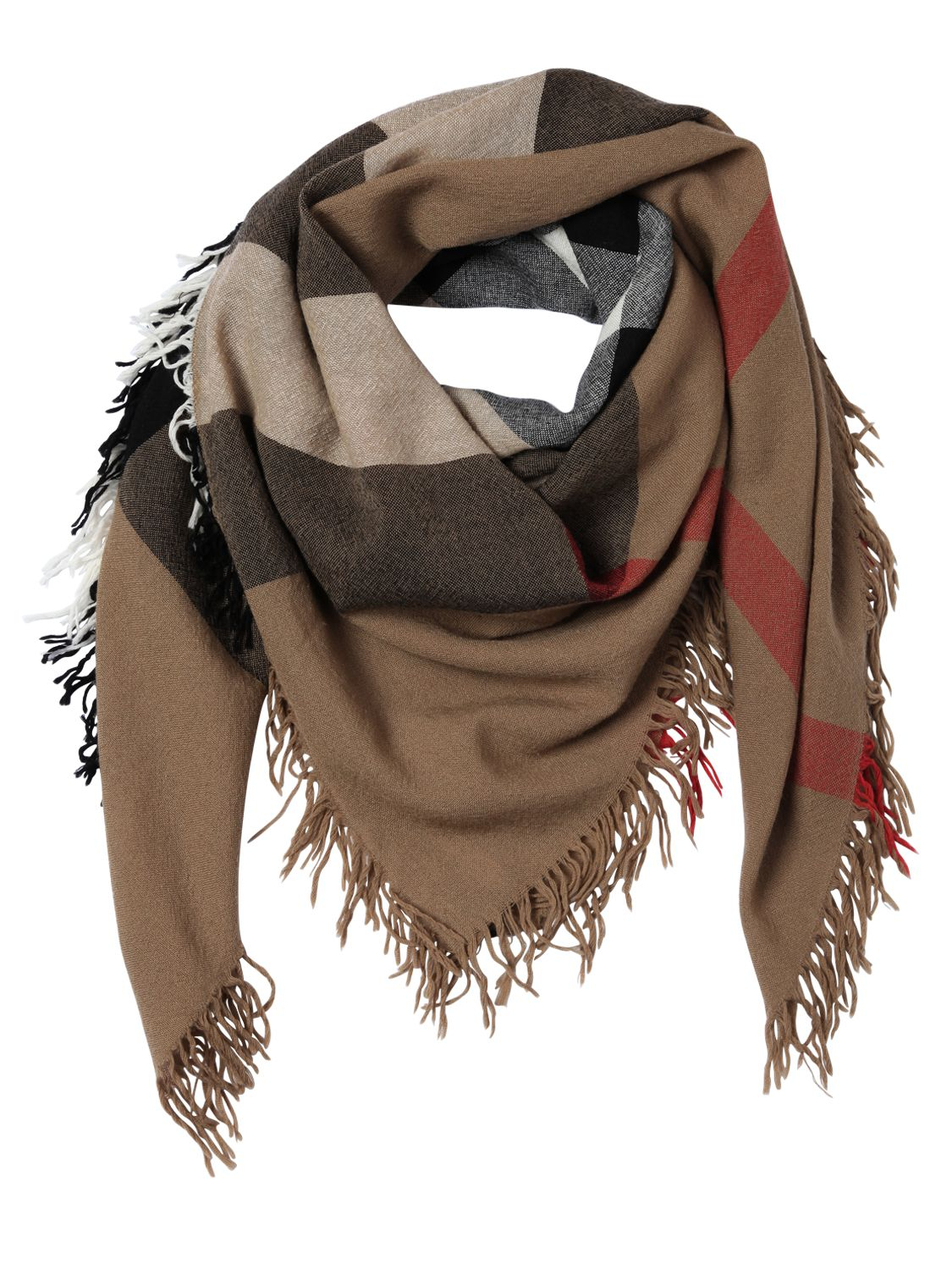 burberry check merino wool scarf in brown lyst
