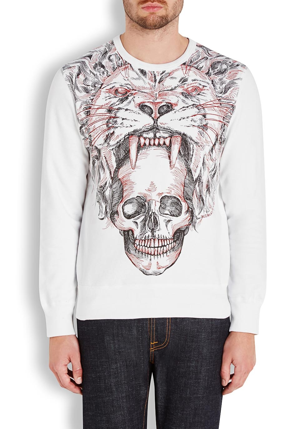 alexander mcqueen tiger and skull embroidered sweatshirt in white lyst. Black Bedroom Furniture Sets. Home Design Ideas