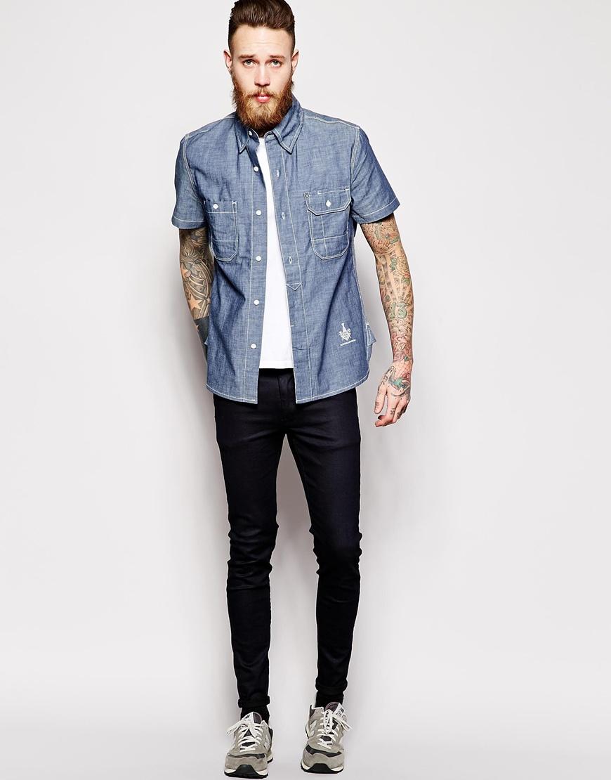 blue collar worker chambray shirt short sleeve logo in