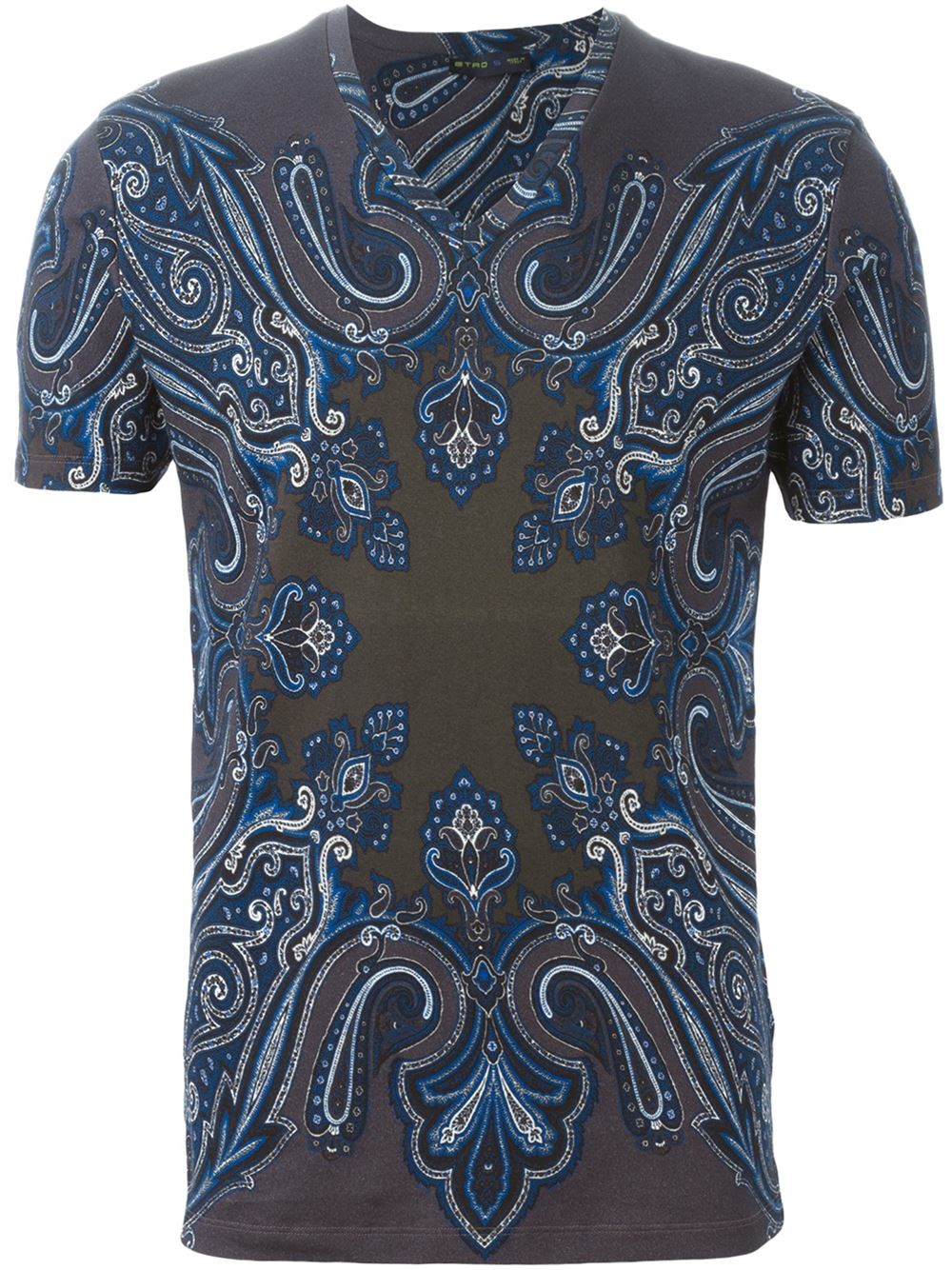 Etro Paisley Print T Shirt In Gray For Men Lyst