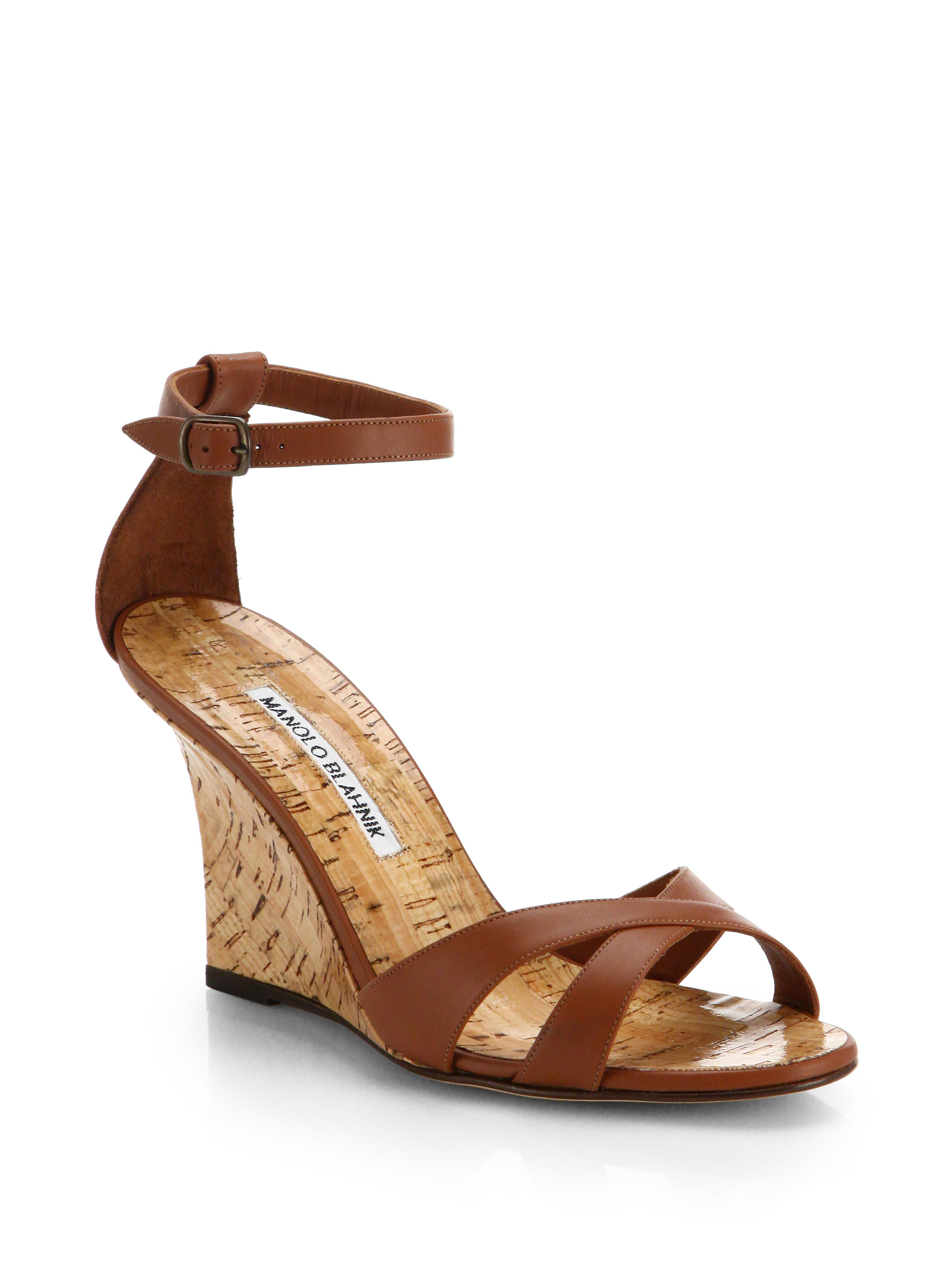 manolo blahnik leather wedge sandals in brown lyst