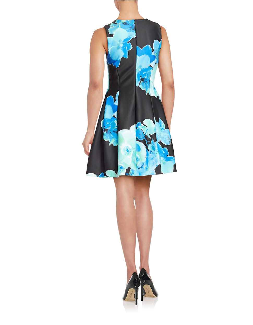 Calvin Klein Floral Fit And Flare Dress In Blue Lyst