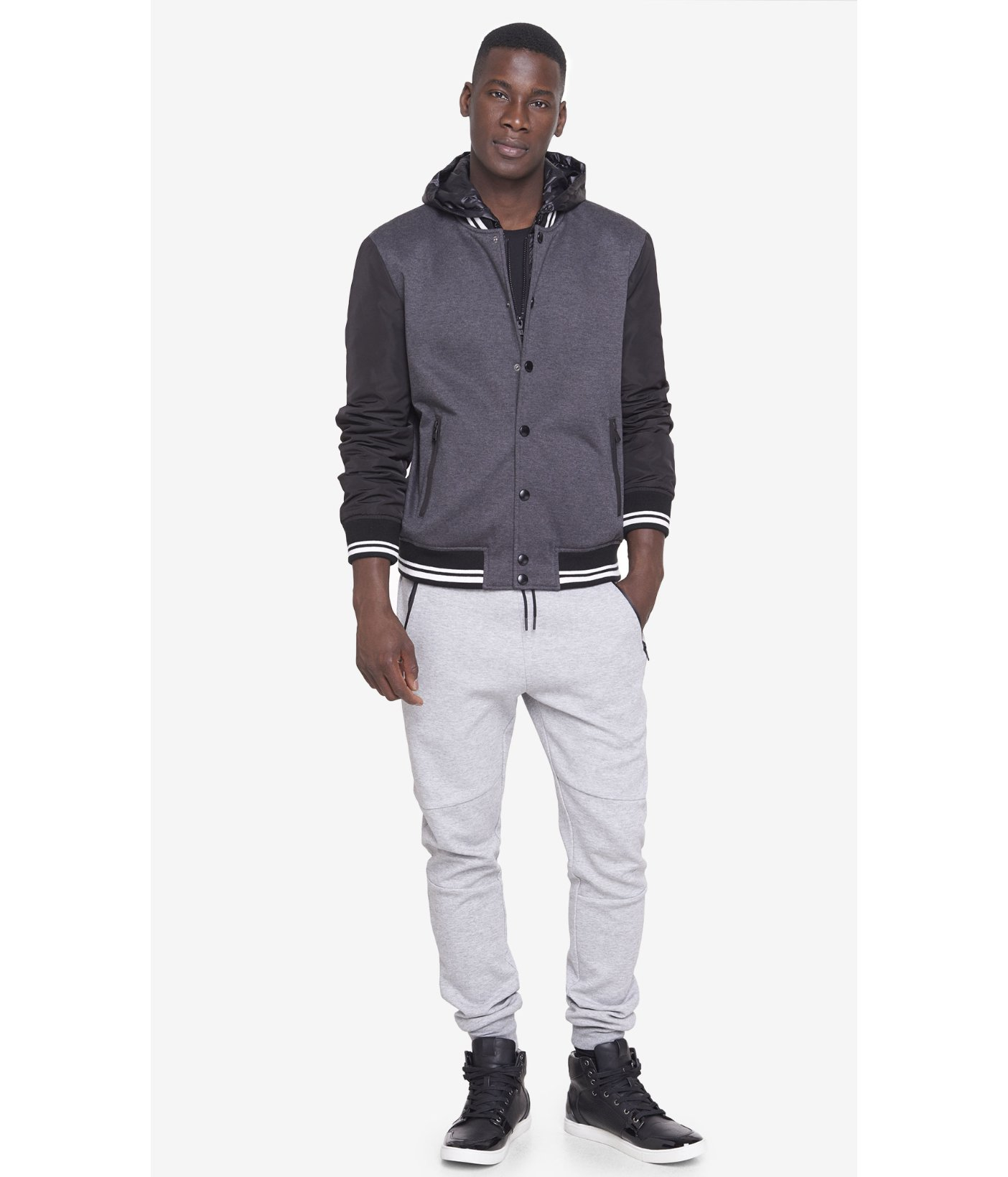 Express Hooded Baseball Jacket in Gray for Men | Lyst