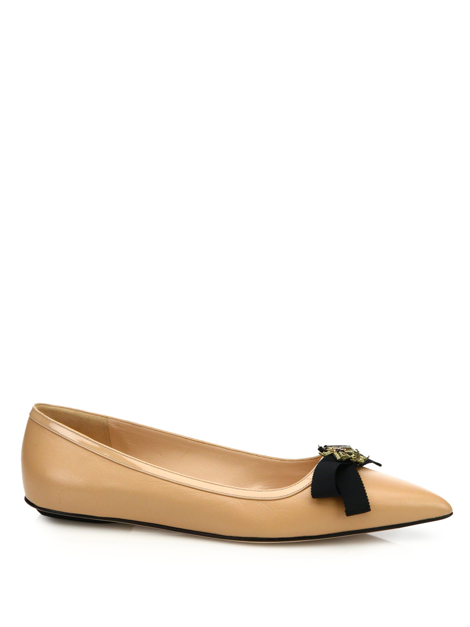 189a26ad1 Gucci Moody Leather Ballet Flats in Natural - Lyst