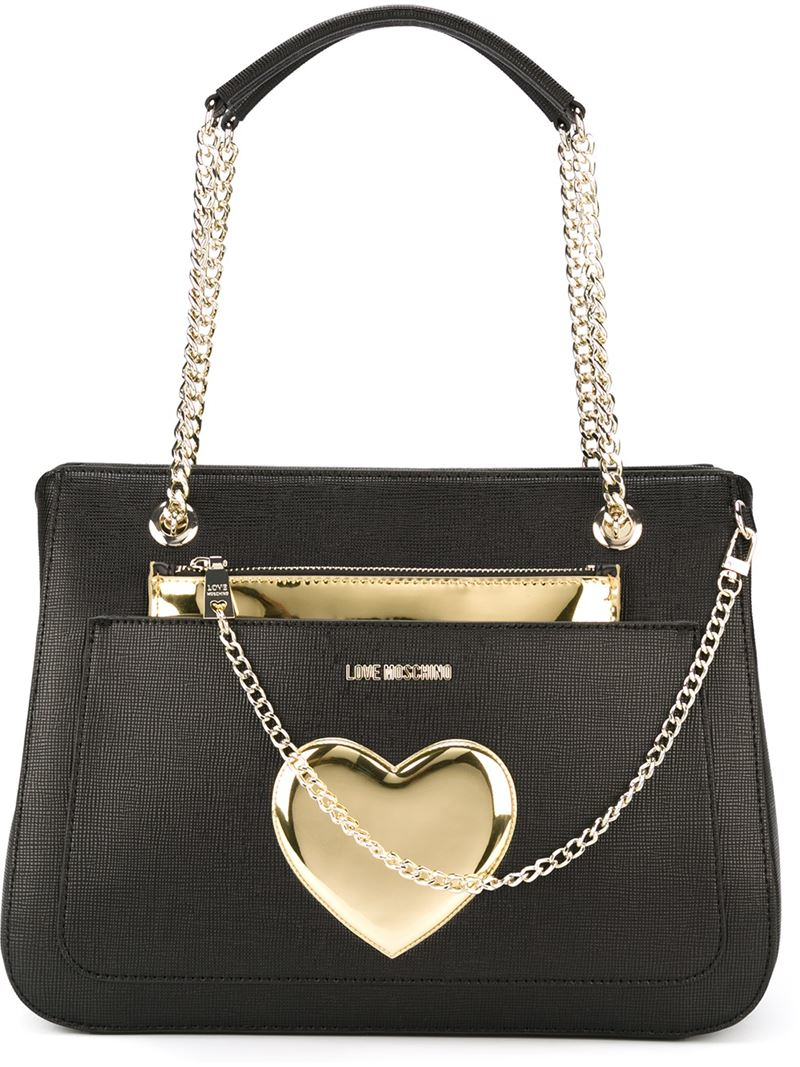 love moschino heart detail shoulder bag in metallic lyst. Black Bedroom Furniture Sets. Home Design Ideas