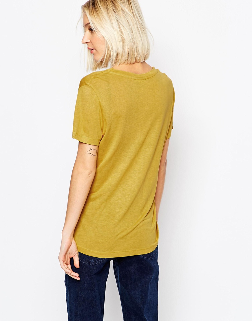 Weekday Original V Neck T Shirt In Yellow Lyst