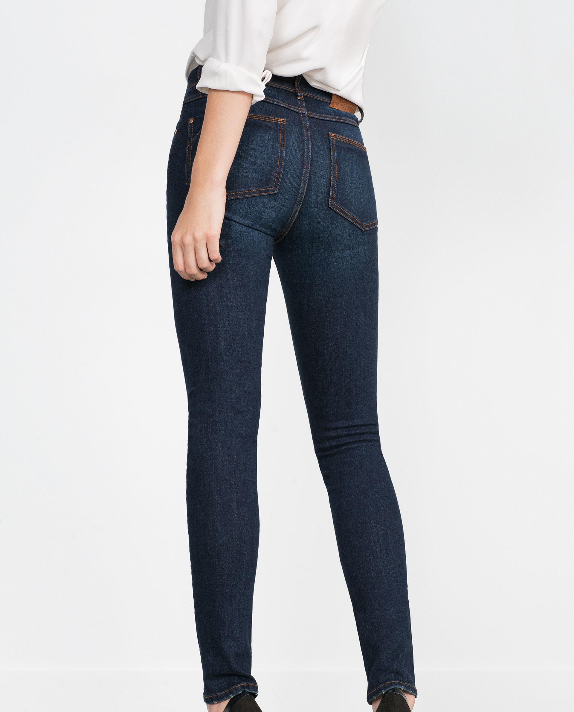 Model Zara Ripped Skinny Jeans In Blue  Lyst