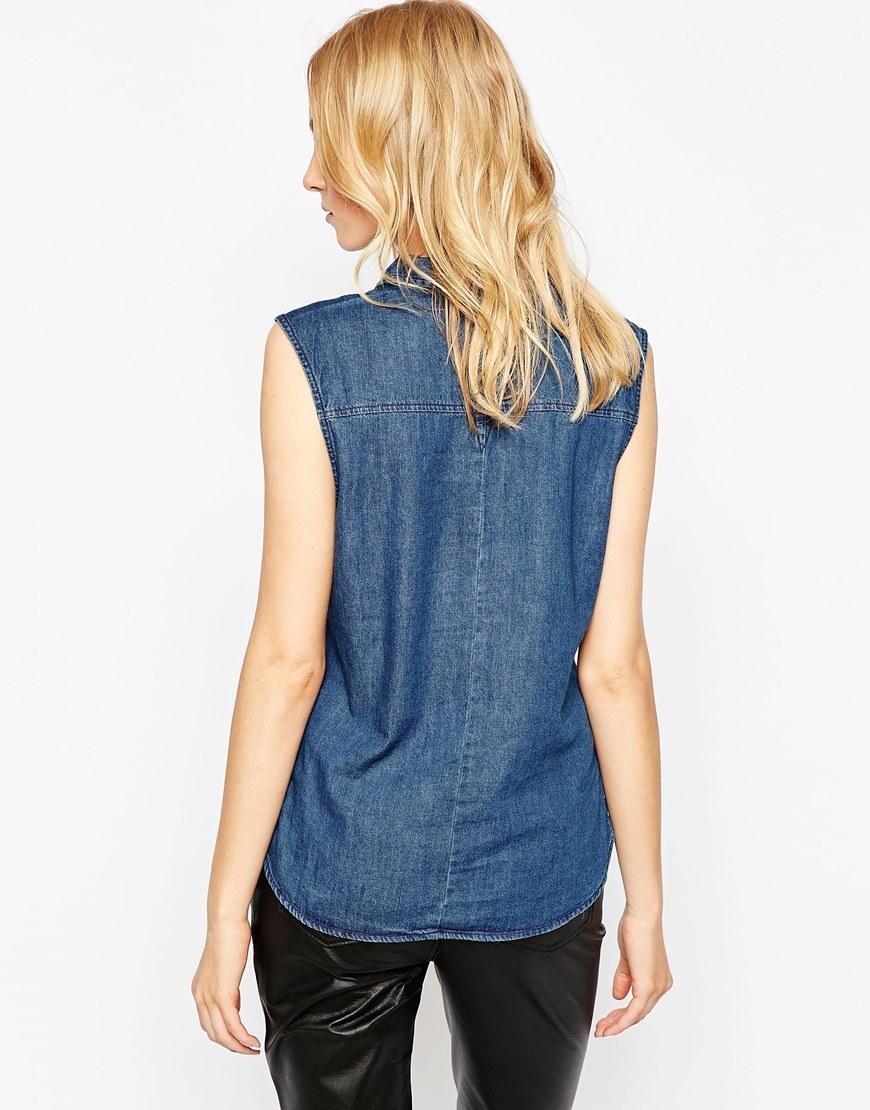 Grain Denim Sleeveless Western Shirt In Dark Indigo In