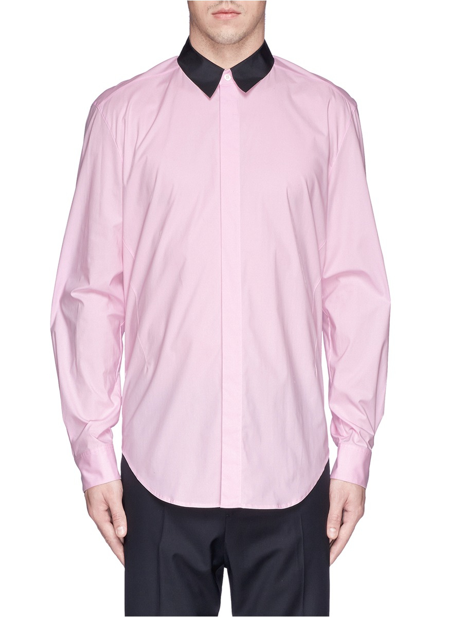 3 1 phillip lim contrast starch collar poplin shirt in for Starch on dress shirts
