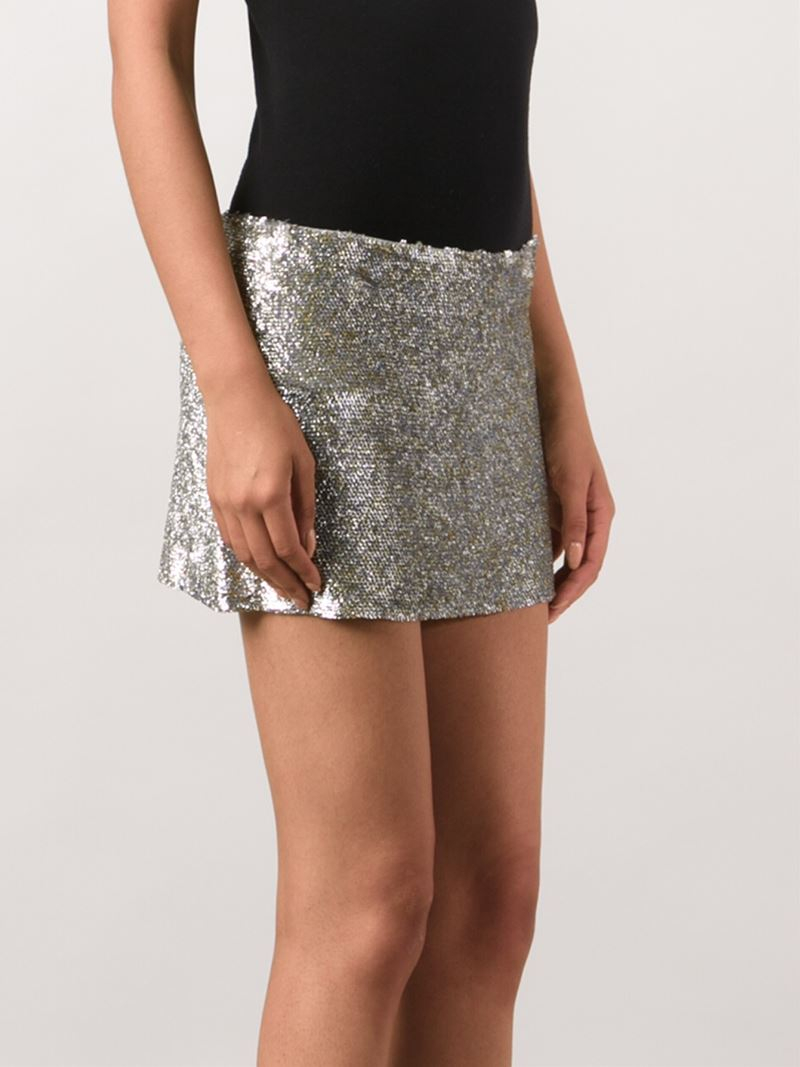 Ashish Sequin Mini Skirt in Metallic