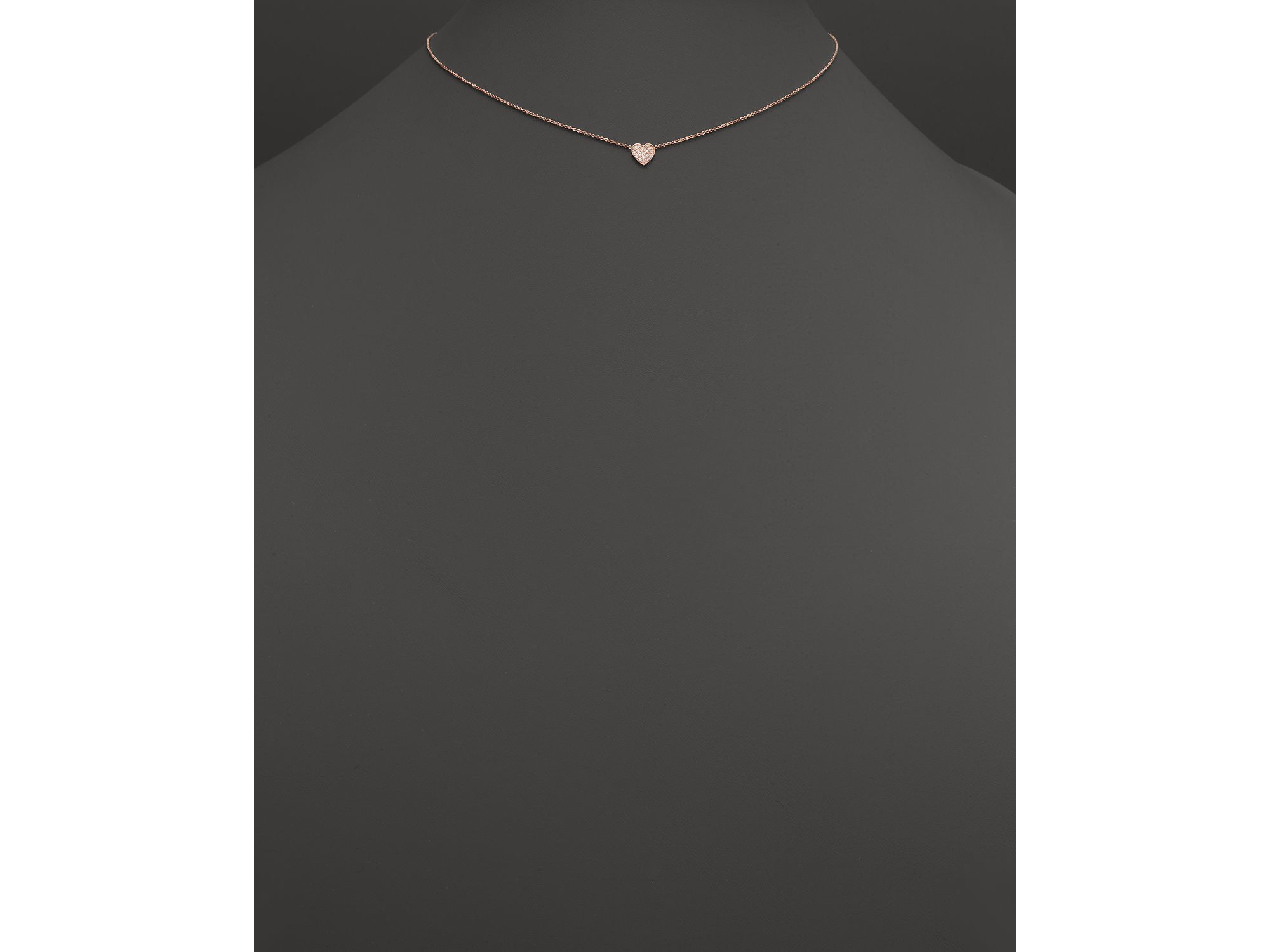 """Zoe chicco 14k Rose Gold Heart Necklace With Pave Diamonds 16"""" in"""