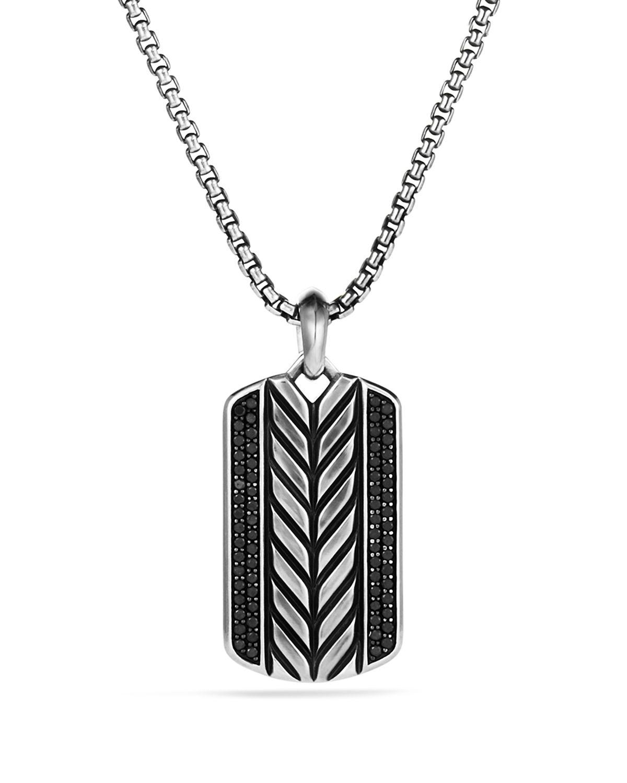 David yurman Modern Chevron Tag Necklace With Black Diamonds in Metallic for