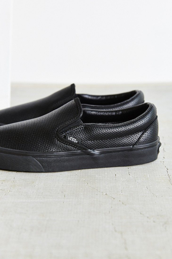 Lyst - Vans Perforated Leather Classic Slip-on Shoe in Black b53eb1952