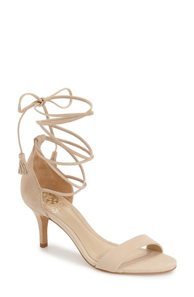 Vince Camuto Kathin Suede Lace Up Sandals In Natural Lyst